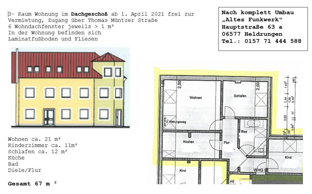 dachgeschosswohnung in heldrungen